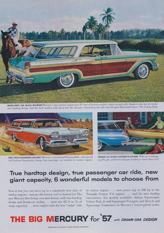 1957 Ford Mercury Station Wagon Advertisement Vintage Print Ad Mid Century Wall Art Decor