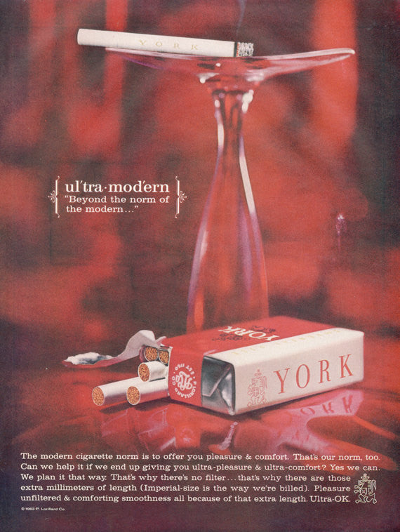 1963 York Cigarettes Ad Ultra Modern Vintage Tobacco Mad Men Era Vintage Advertising Tobacco Print Bachelor Pad Bar Lounge Office Wall Art