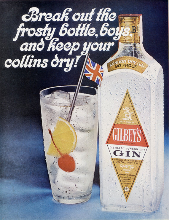 1963 Gilbey's Gin Ad Collins Cocktail Vintage Liquor Advertising Print Bar Pub Art Wall Decor