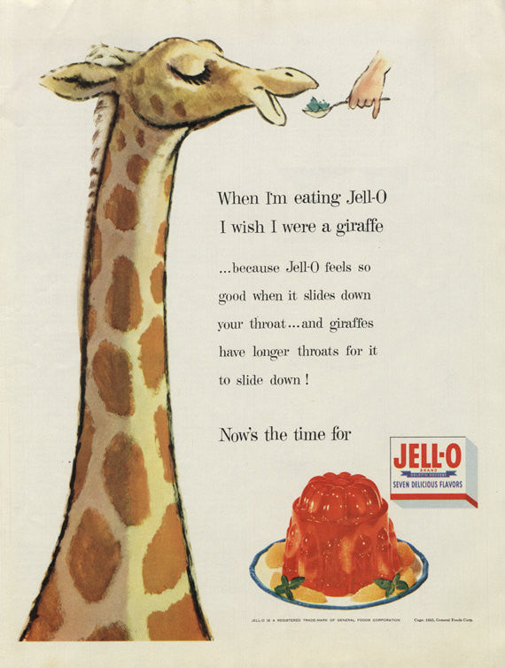 1955 Jell-O Ad Giraffe Illustration Vintage Advertising Art Print Cute Kitchen / Nursery Wall Decor