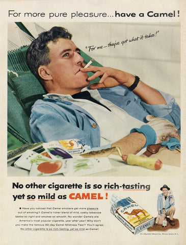 1955 Camel Cigarettes Ad Retro Man Smoking Photo Vintage Tobacco Advertisement Print Man Cave Bar Wall Art Print