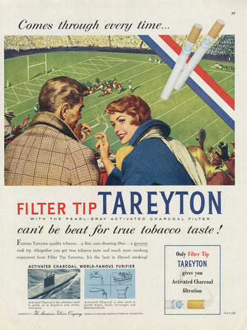1955 Tareyton Cigarettes Ad 1950s Smoking Couple Football Game Illustration Vintage Tobacco Advertising Art Print Bar / Rec Room Wall Decor