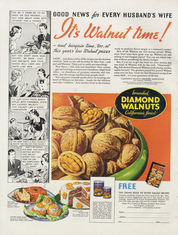 1936 Diamond Walnuts Ad Vintage Advertisement Print Food Nuts Illustration Kitchen / Restaurant / Cafe Wall Decor