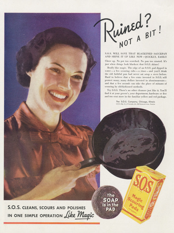 1937 SOS Magic Scouring Pads Vintage Ad 1930s Woman Cleaning Skillet Advertising Art Illustration Print Kitchen Wall Art Restaurant Decor