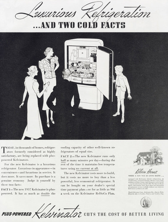 1937 Kelvinator Refrigerator Ad Vintage Appliance Advertisement Print Retro Kitchen Black & White Wall Art Decor