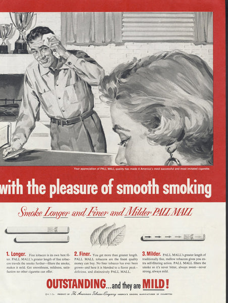 1955 Pall Mall Cigarettes Ad Vintage Smoking Advertisement Art Bar / Pub Wall Print Couple Table Tennis Illustration Collectible Tobacciana