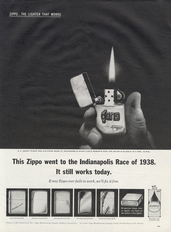 Vintage Zippo Lighter Advertisement Indianapoilis Race of 1938 Print Ad