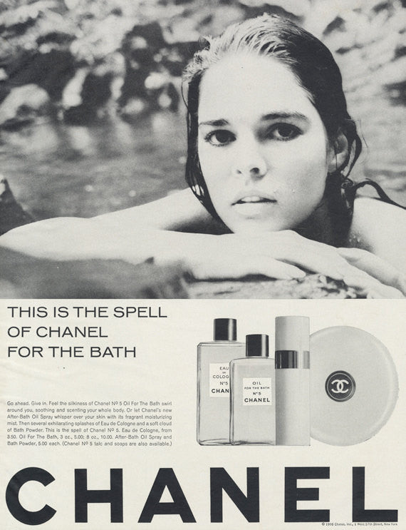 1966 Chanel No 5 Oil for the Bath Vintage Advertisement Black & White Cosmetics Print Ad 60s Beauty Bathroom Salon Wall Art Decor