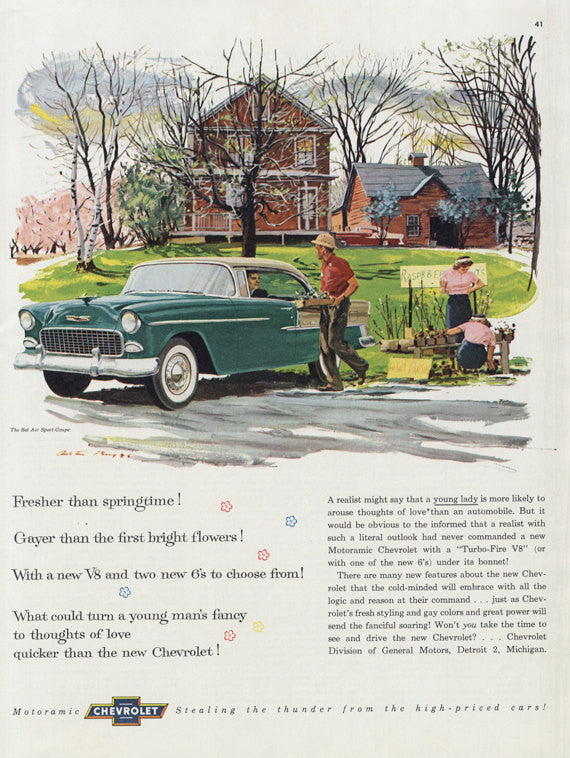 1955 Chevrolet Motoramic Bel Air Sport Coupe Classic Car Advertisement Springtime Illustration Art Print Mid Century America Wall Decor