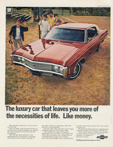 1969 Chevrolet Impala Car Ad Custom Coupe Vintage Automobile Advertisement Print Garage Wall Art