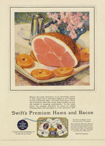1925 Swift's Premium Hams & Bacon Ad Vintage Meat Advertisement Art Print Retro Kitchen / Restaurant Wall Decor