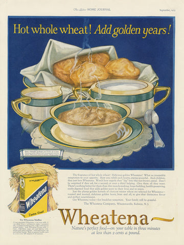1925 Wheatena Whole Wheat Ad Cereal Muffins Art Illustration Vintage Health Food Advertisement Print Kitchen / Cafe / Restaurant Wall Decor