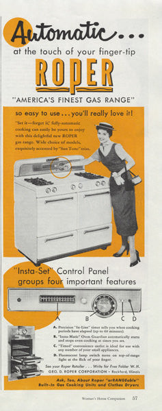 1955 Roper Gas Range Ad Vintage Stove Appliance Advertisement Illustration Print Retro Bright Orange Kitchen Wall Art