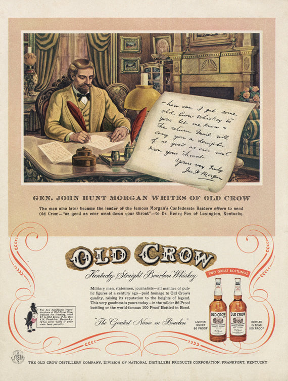 Old Crow Whisky Ad Civil War Illustration Bar Wall Art Decor 1955 Print Advertisement Gen. John Hunt Morgan Writes Letter