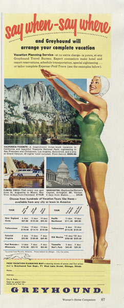 1955 Greyhound Bus Ad Pin-Up Girl Illustration US Travel & Tourism Vintage Advertising Art Print Wall Decor