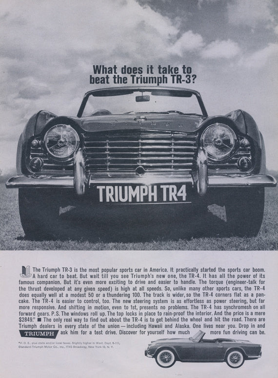 1962 Triumph TR-4 Sports Car Advertisement Rare Vintage Ad Classic Automobile Black & White Photo Print Man Cave Garage Wall Art Print