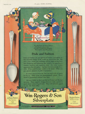 1925 Wm Rogers & Son Silverplate Ad Vintage Silverware Flatware Advertisement Print Ladies Tea Illustration Art Kitchen / Shop Wall Art