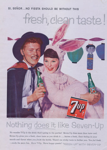 7-Up Cola Ad Seven-Up Vintage Soda Pop Advertisement Art Print Woman Bunny Costume Photo Print Wall Decor