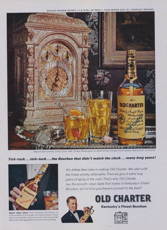 Old Charter Whiskey Ad Kentucky Bourbon 1969 Liquor Advertisement Print English Dual Chimes Clock Photo Bar Pub Wall Art Decor
