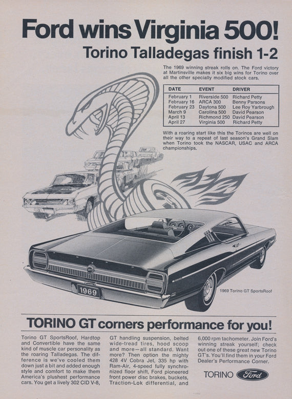 1969 Ford Torino GT SportsRoof Muscle Car Advertisement Vintage Auto Print Ad Man Cave Garage Decor