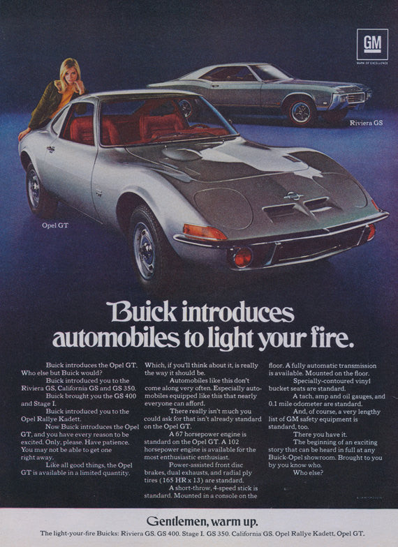 1969 Buick Opel GT & Riveria GS Automobiles to Light Your Fire Ad Vintage Car Advertisement Print Garage Wall Art Decor