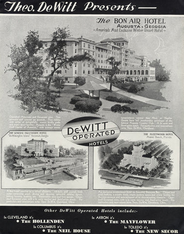 1935 DeWitt Hotels Ad Bon Air - General Oglethorpe - Fleetwood Hotels Vintage Travel Advertisement Print Wall Art Decor