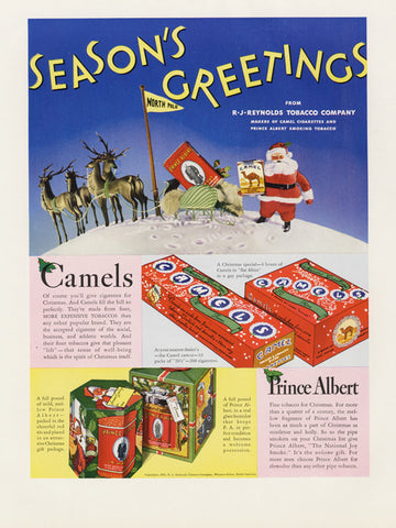 1935 Camel Cigarettes & Prince Albert RJ Reynolds Tobacco Company Holiday Advertising Print Ad Vintage Advertisement Smoking Wall Art Decor