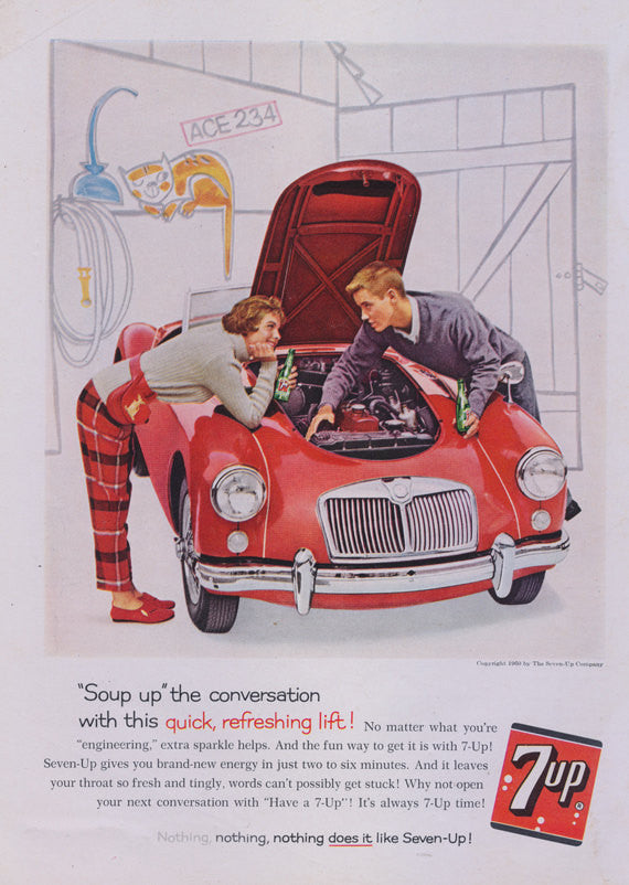1960 7 Up Cola Ad Seven-Up Soda Pop Vintage Advertisement Print Teenage Couple Fixing Red Car Restaurant Diner Wall Art Decor