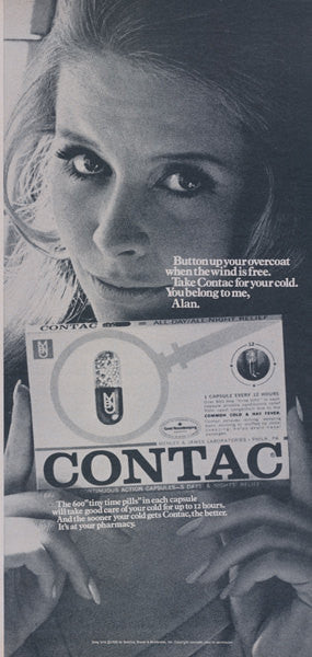 Contac Cold Medicine Ad Sexy Girl Photo 60s Pill Advertisement 1969 Print Dr's Office Wall Art Decor