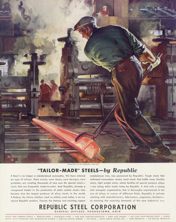 1935 Republic Steel Corporation Vintage Ad Wall Art Decor Industrial Worker Illustration Print Advertisement