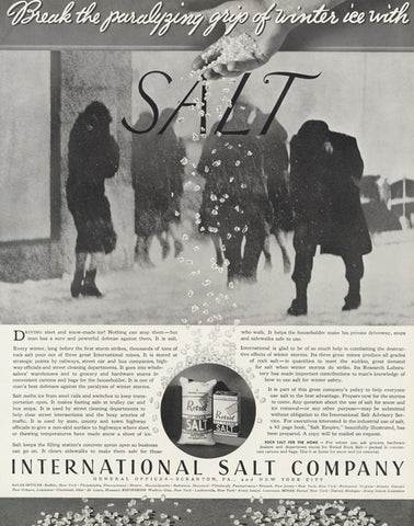 1935 International Salt Company Ad Winter Ice Storm Photo Vintage Advertisement Print Wall Art Decor