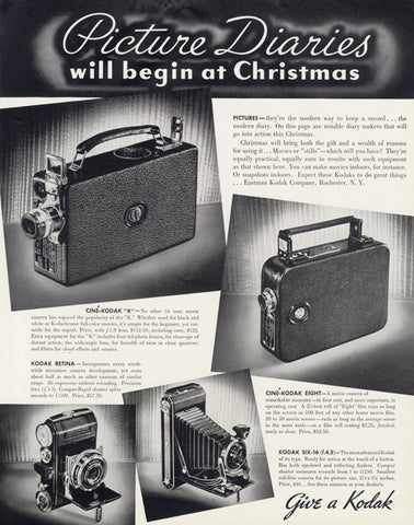 1935 Kodak Movie Cameras Vintage Advertisement Print Christmas Holiday Ad Photography Wall Art Decor