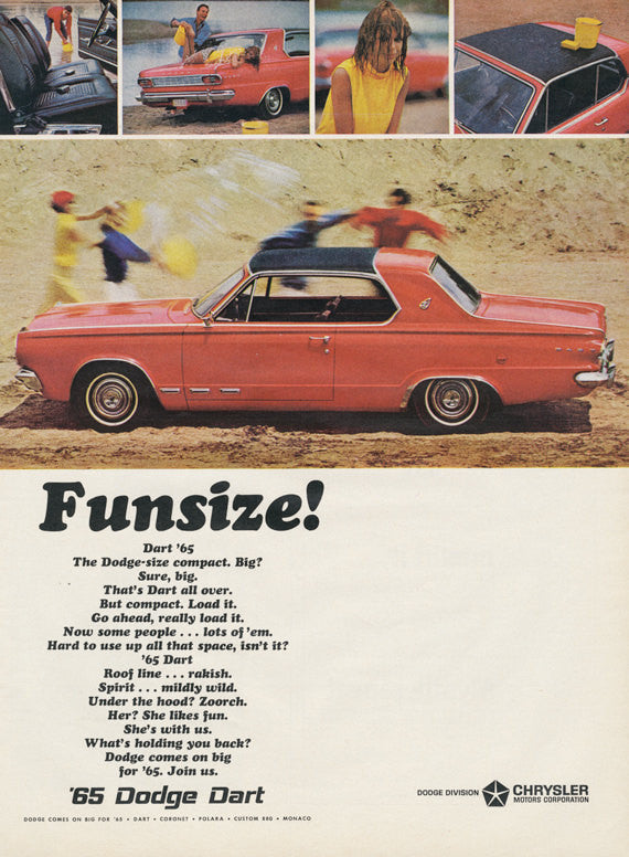 1965 Dodge Dart Car Ad Vintage Automobile Advertisement Chrysler Car Washing Photo Print Funsize! Garage Man Cave Bachelor Pad Wall Art