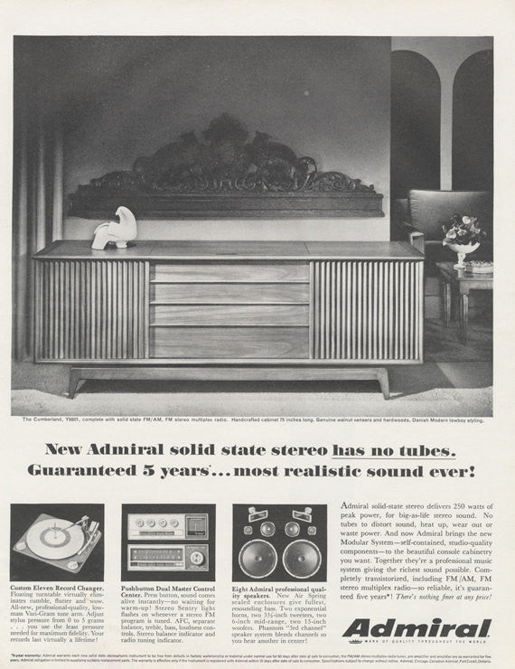 1964 Admiral Solid State Stereo Advertisement Vintage Music Technology Print Ad Wall Art Decor