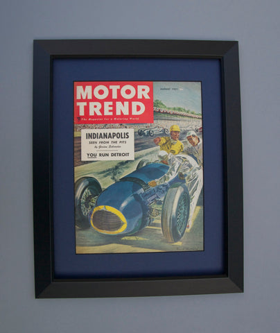 Framed 1951 Motor Trend Magazine Cover Art - Gift for Him - Man Cave / Garage / Racing / Automotive Wall Art Retro Decor