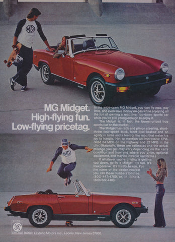 1977 MG Midget Convertible Ad Red Sports Car Photo Vintage Automobile Advertisement Print Skateboarder Photo Wall Art Decor