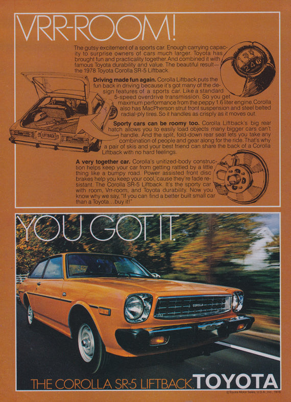 1978 Toyota SR-5 Liftback Car Ad Vintage Automobile Advertisement Print Wall Art Decor