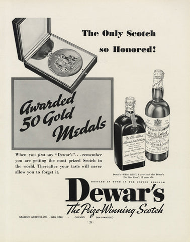 1935 Dewar's Scotch Whisky Ad Vintage Whiskey Advertisement Black & White Print Retro Bar Wall Art Decor