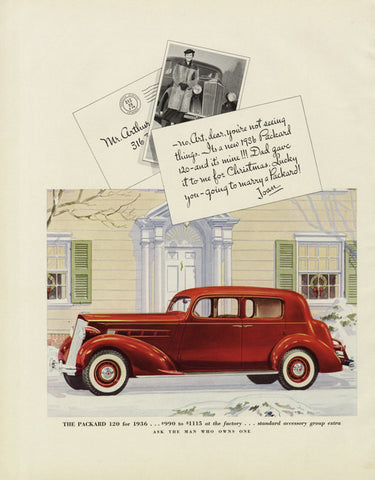 1936 Packard 120 Classic Car Ad Vintage Automobile Illustrated Advertisement Art Print Wall Decor