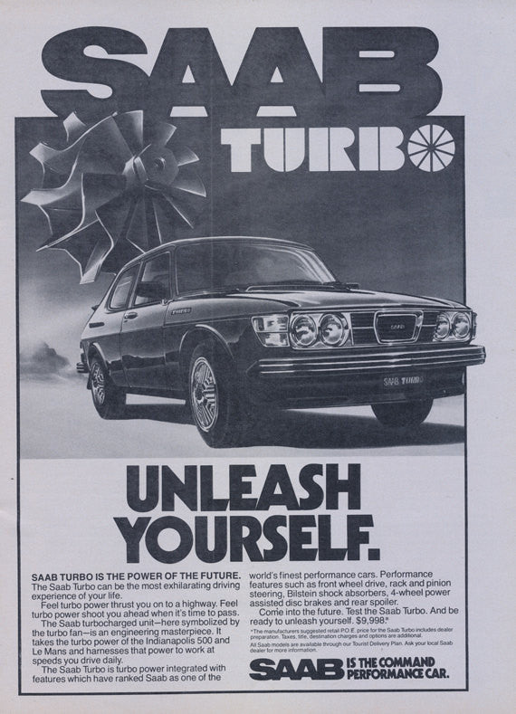 "1978 SAAB Turbo Car Ad ""Unleash Yourself"" Vintage Automobile Advertisement Print Wall Art Decor"