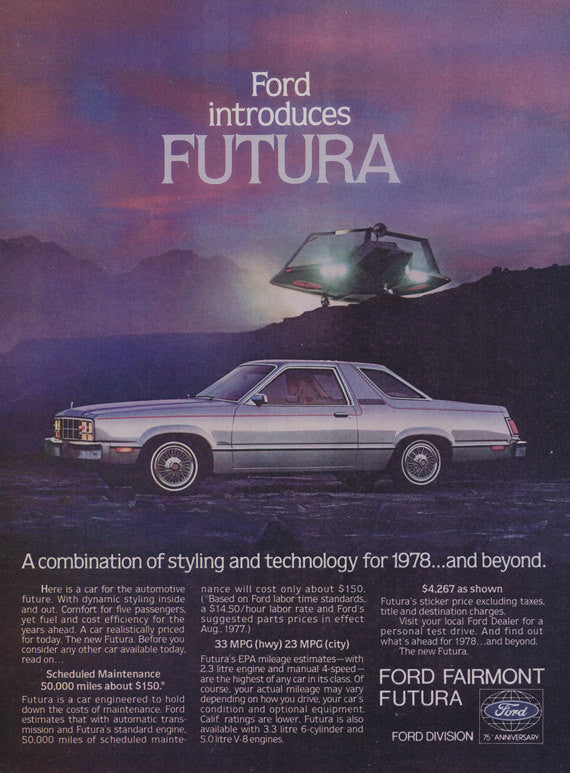 1978 Ford Futura Car Ad Automotive Future Vintage Automobile Advertisement Print Wall Art Decor