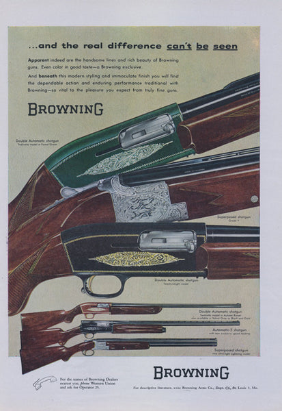 Browning Rifle Advertisement 1956 Print Ad OR 1957 Ford Thunderbird Men's Clothing Ad Tailored Sportswear Fashion Man Cave Wall Art Decor