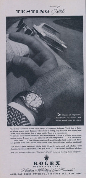 1956 Rolex Oyster Perpetual Watch Ad Men's Chronometer Wristwatch Advertisement Print Jewelry Store Wall Art Decor