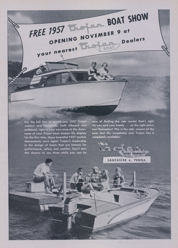 1957 Trojan Boat Show Print Ad 1950's Boating Photo Vintage Advertisement Print Nautical Wall Art Decor