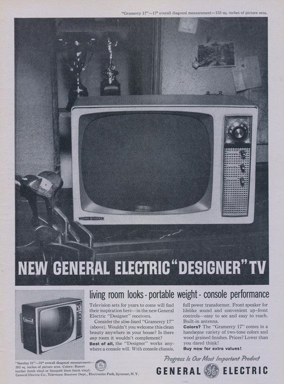 1958 General Electric Designer TV Ad Vintage GE Television Electronics Advertisement Print Wall Art Decor