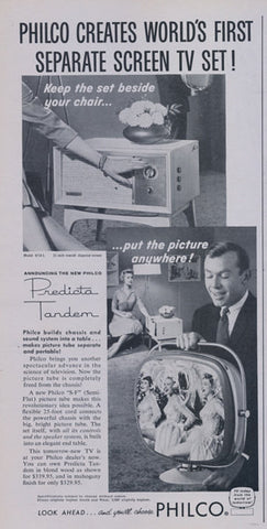 1958 Philco Television Ad Predicta Tandem TV Print Ad Wall Art Decor