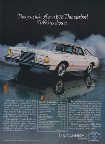 1978 Ford Thunderbird Car Ad Automobile Photo Vintage Advertisement Print Wall Art Decor