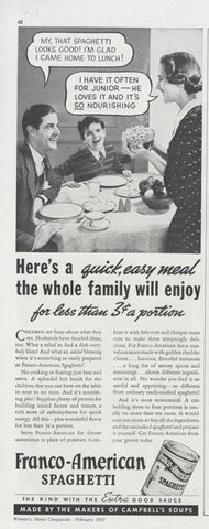 1937 Franco-American Spaghetti Ad Kitsch Family Photo Vintage Food Advertisement Print Kitsch Retro Kitchen Italian Restaurant Wall Art