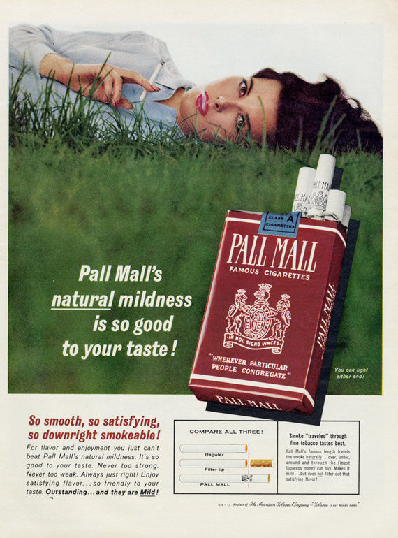 1963 Pall Mall Cigarettes Advertisement Sexy Woman Smoking in Grass Photo Tobacco Mad Men Advertising Art Print Retro Bar Man Cave Decor