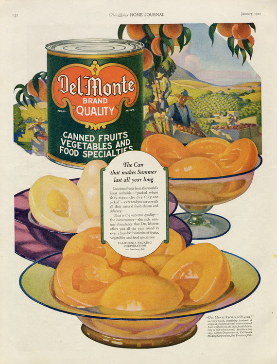 1921 Del Monte Canned Fruits and Vegetables Vintage Advertisement Peaches Illustration Food Art Kitchen / Farmhouse / Cafe Wall Decor